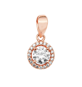 Rose Silver CZ Halo Pendant Necklace