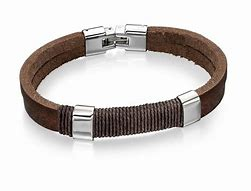 FRED BENNETT Stainless Steel, Brown Leather & Cotton Wrapped Cord Wristband