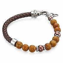 FRED BENNETT Stainless Steel & Brown Serpeggiante Bead Leather Wristband