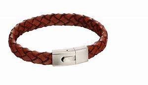 FRED BENNETT Stainless Steel & Plaited Rust Brown Leather Wristband