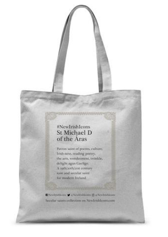 Back of St Michael D of the Áras all over print tote back
