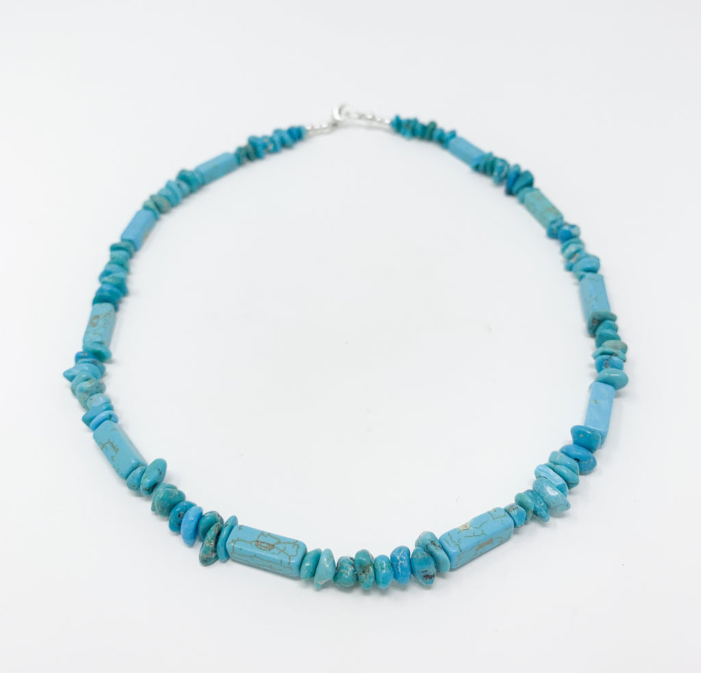 Turquoise Nugget and Magnesite Tubes Necklace - Men's