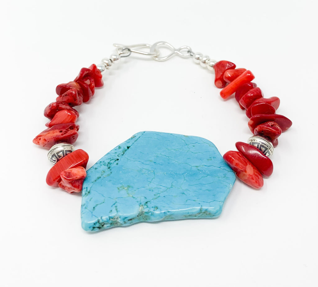 Turquoise Slab Bracelet with Silver
