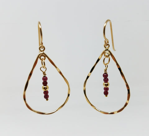 The Koko Earrings - Garnet & Gold Teardrop Earrings