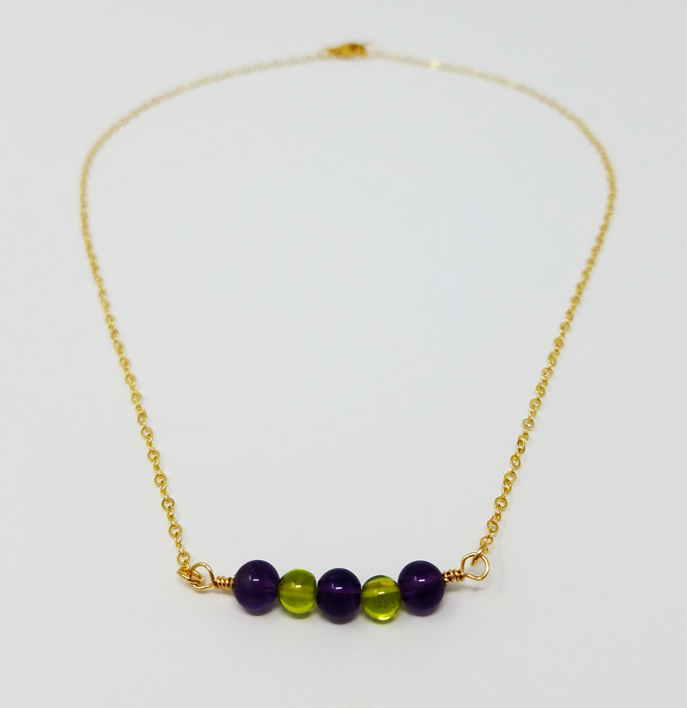 The Shenandoah Necklace III - Amethyst & Peridot Bead Necklace