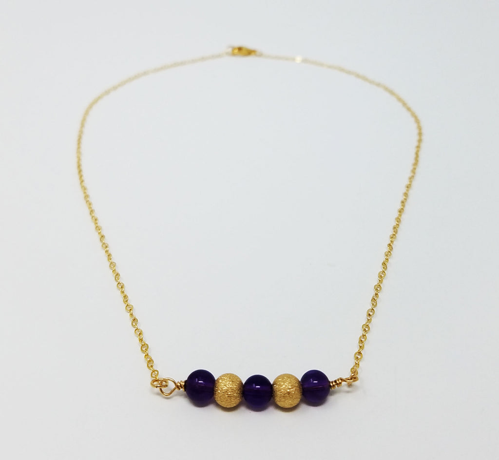 The Livana Necklace - Amethyst & Gold Bead Necklace