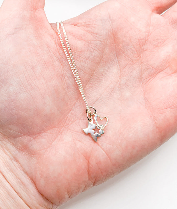 Texas & Heart Charm Necklace