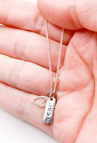 Love & Heart Charm Necklace