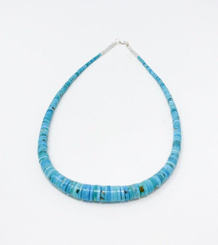 Graduated Blue Heishi Turquoise Necklace