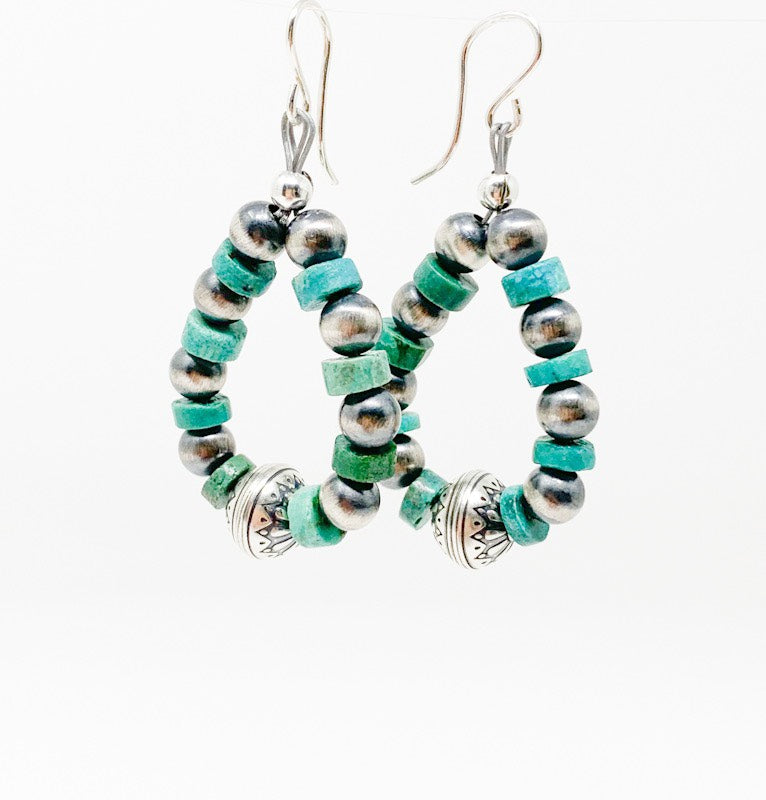 Navajo Pearl & Turquoise Earrings
