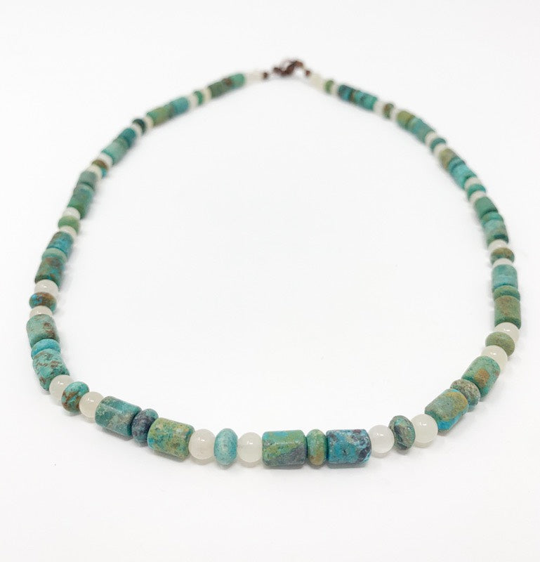 Green Turquoise Beaded Necklace - Men's