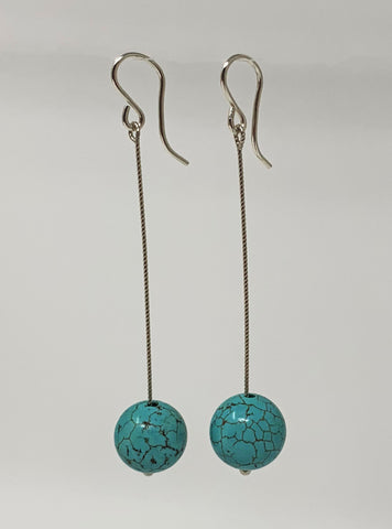 Twisted Wire Magnesite Drop Earrings