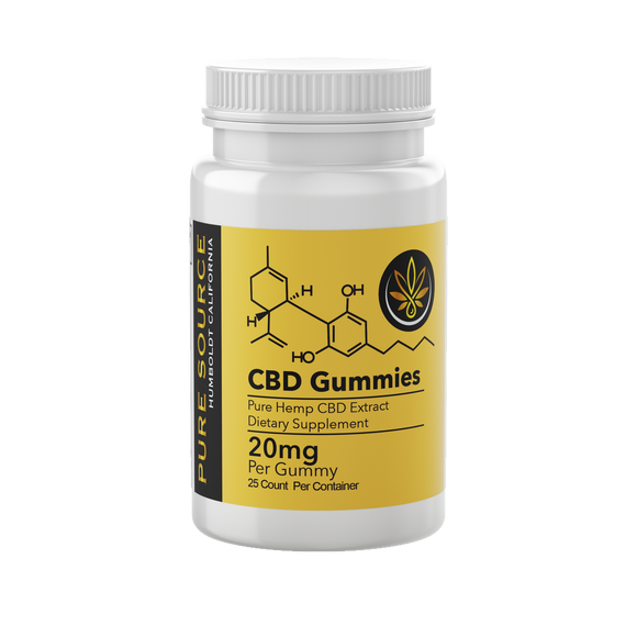 CBD Gummy Bears 20mg 25 Count Bottle - www.puresourceextracts.com