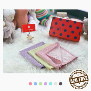 Pokka Kids versatile reversible GOTS Certified Organic Cotton baby hanky gift sets in pink, lime, and purple colors