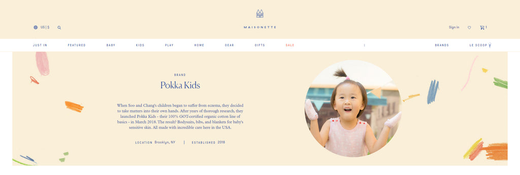GOTS Certified organic baby layette brand Pokka Kids designed for baby eczema featuring on Maisonette's website