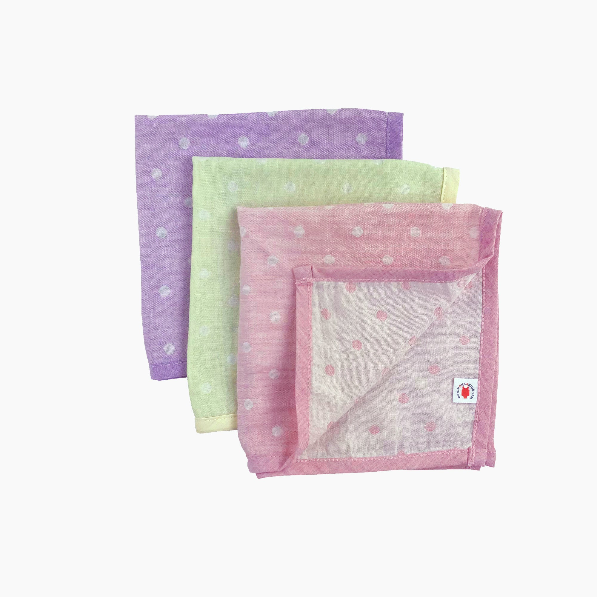 Pokka Kids 100 % GOTS certified organic cotton baby hanky gift set in pink, lime, purple colors are good for eczema