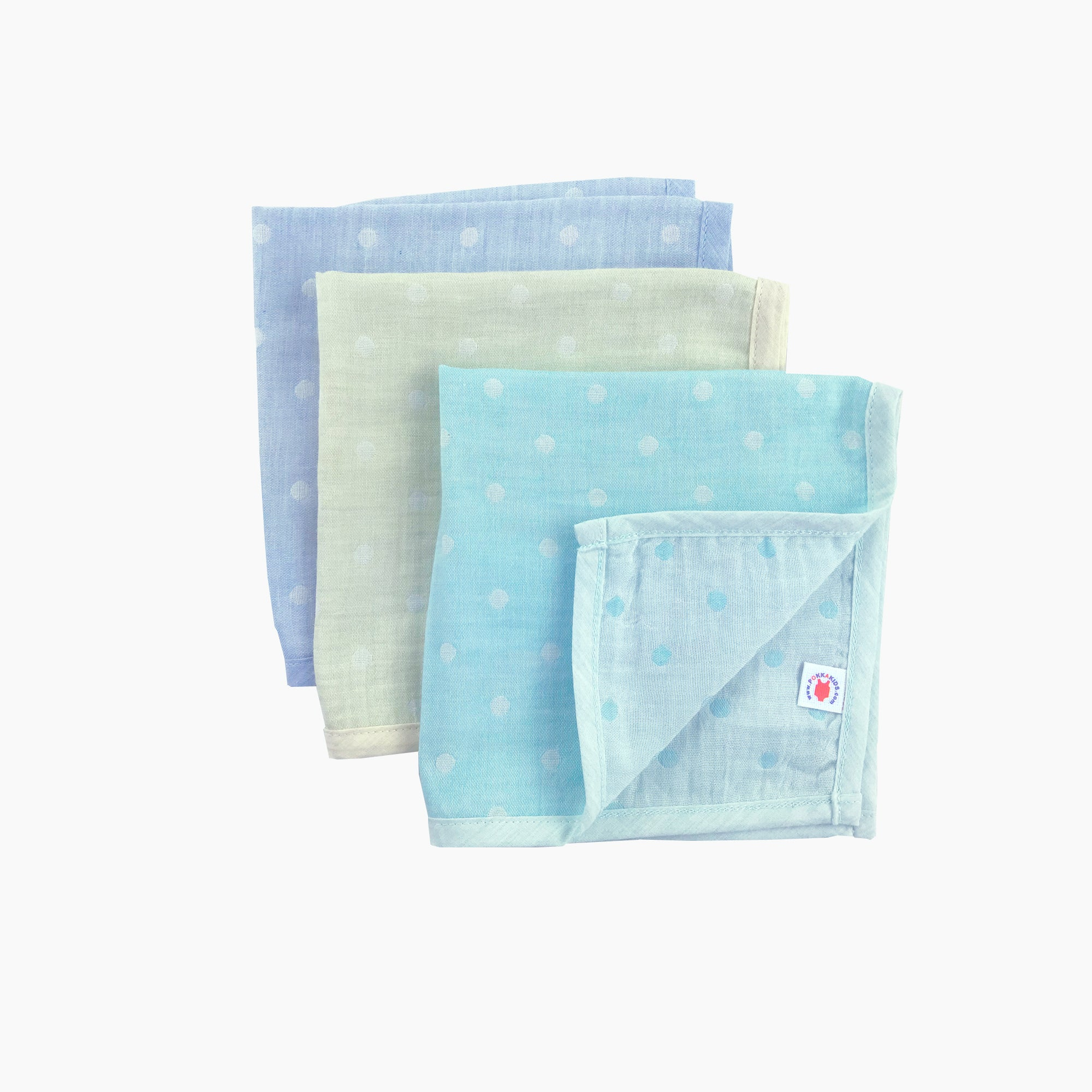 Pokka Kids 100 % GOTS certified organic cotton baby hanky gift set in blue, lime, mint colors are good for eczema