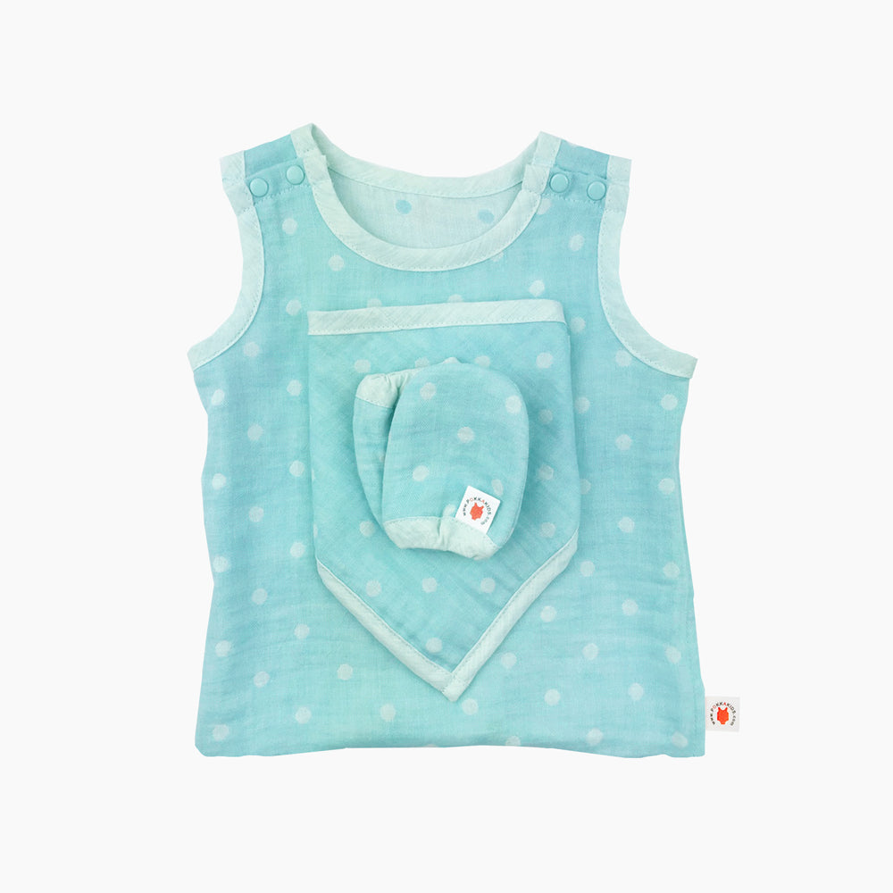 GOTS certified organic cotton baby gift includes bodysuit, bandana bib, and mittens for eczema in mint color