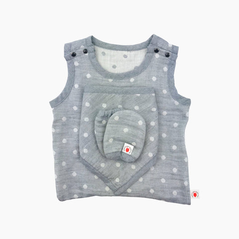 GOTS certified organic cotton baby gift includes bodysuit, bandana bib, and mittens for eczema in gray color