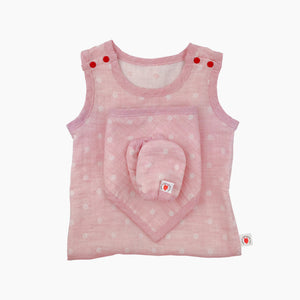 GOTS certified organic cotton baby gift includes bodysuit, bandana bib, and mittens for eczema in pink color