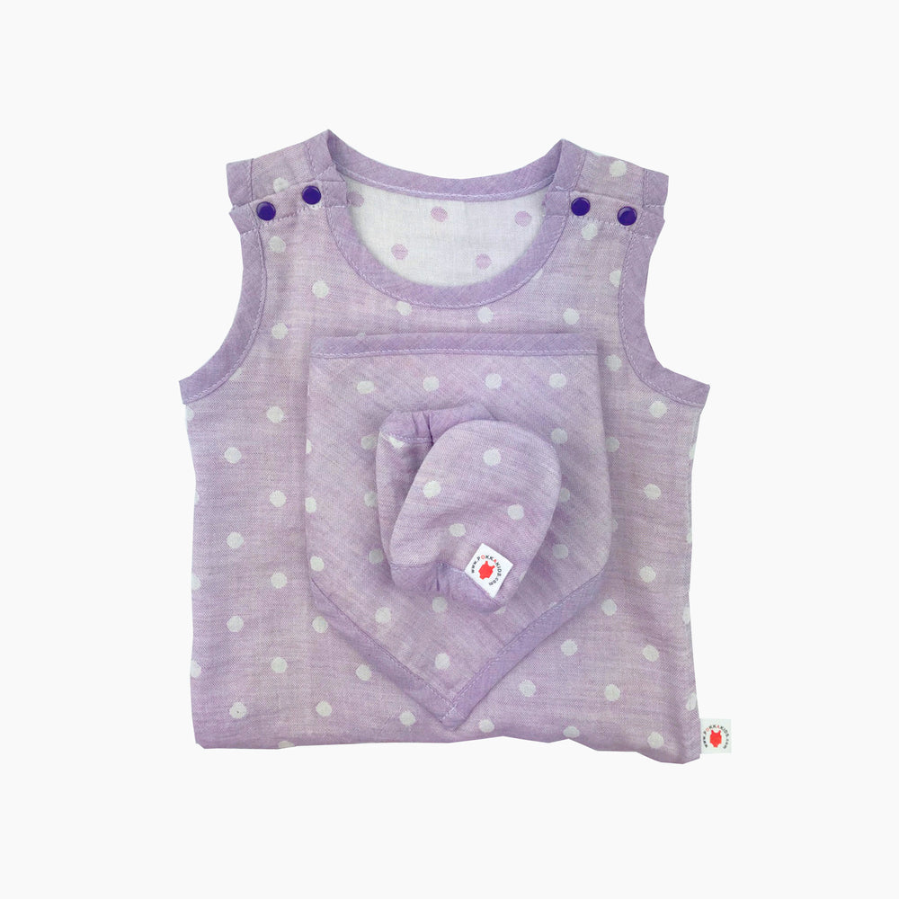 GOTS certified organic cotton baby gift includes bodysuit, bandana bib, and mittens for eczema in purple color