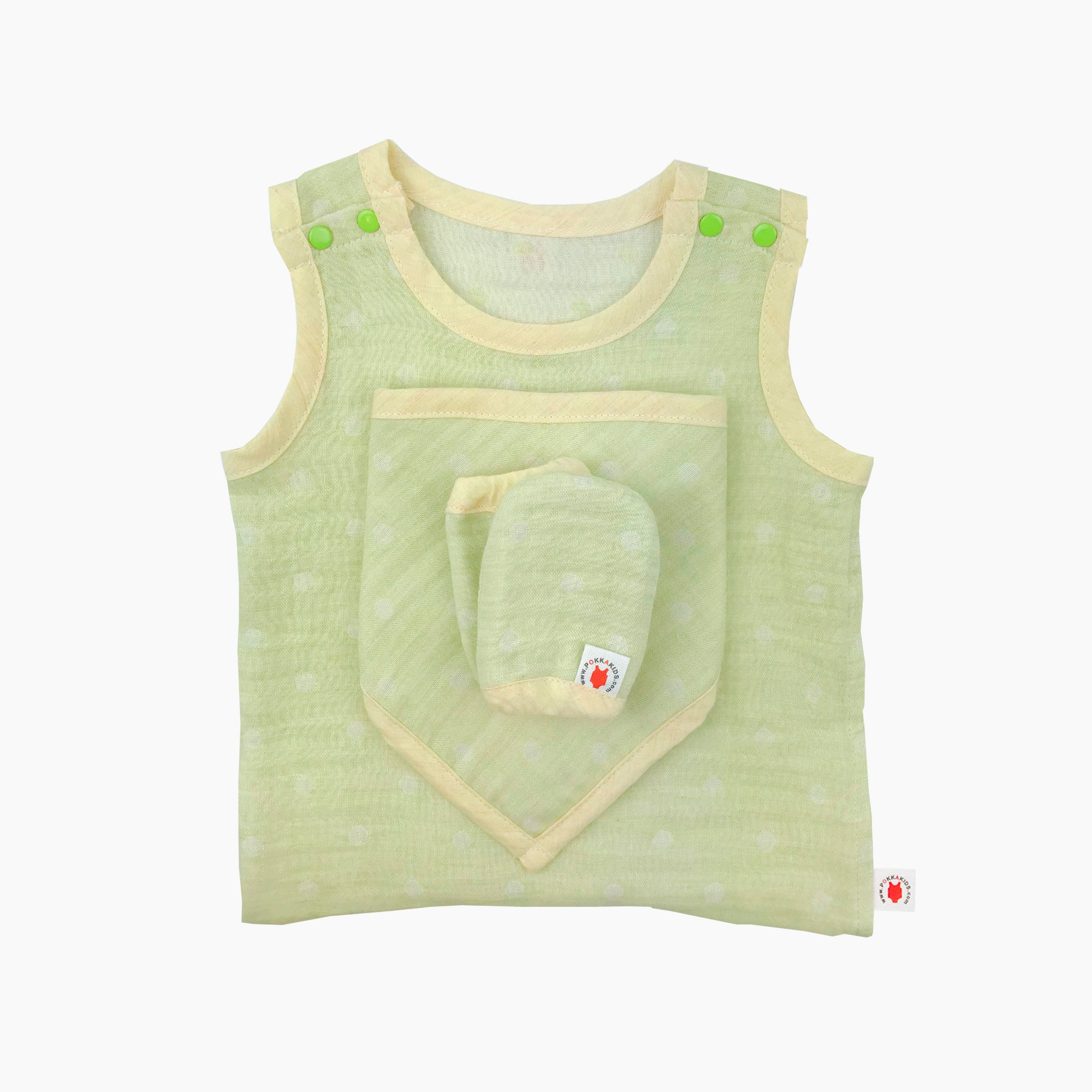 GOTS certified organic cotton baby gift includes bodysuit, bandana bib, and mittens for eczema in lime color
