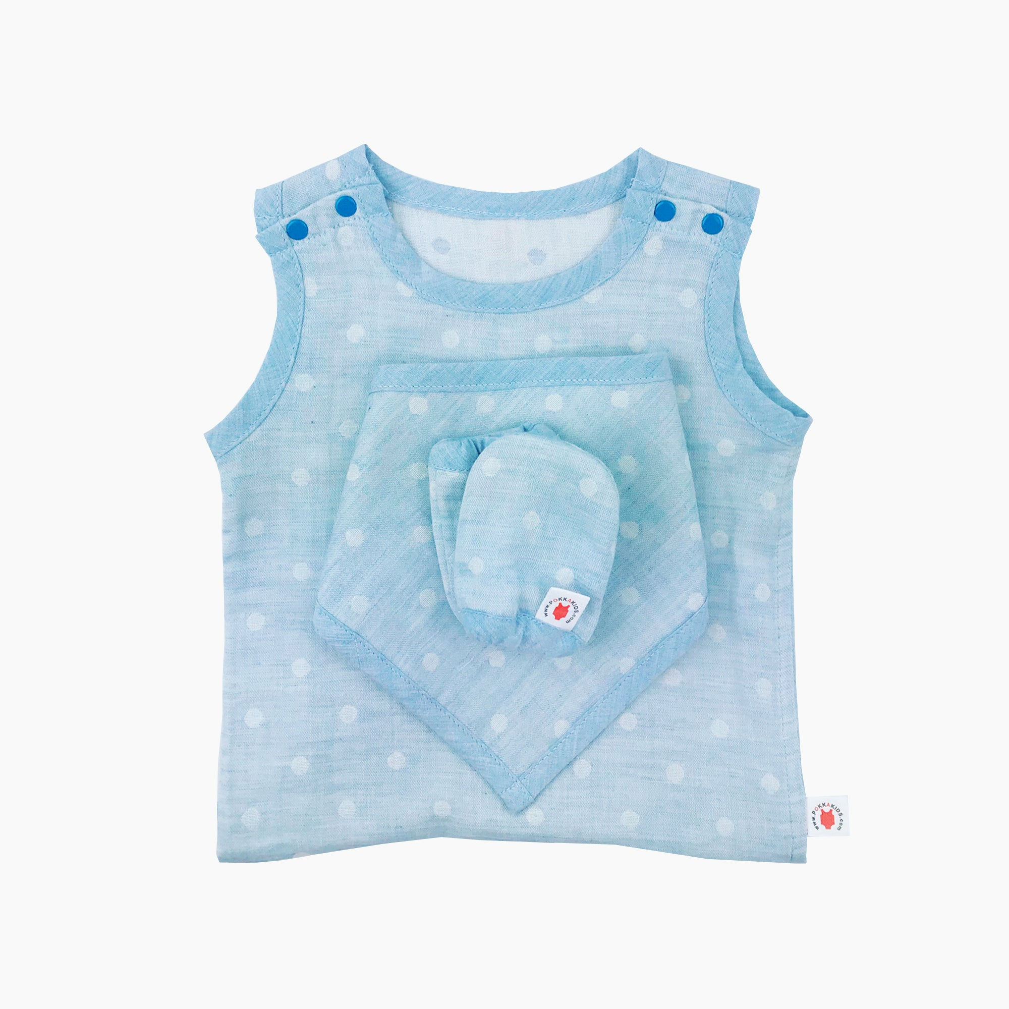 GOTS certified organic cotton baby gift includes bodysuit, bandana bib, and mittens for eczema in blue color