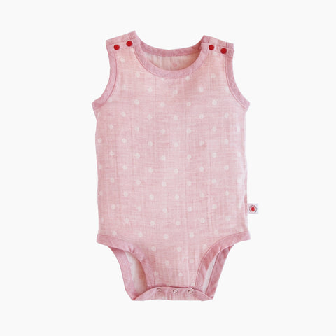 Sleeveless easy to wear Pink GOTS Certified organic cotton baby bodysuit designed for eczema