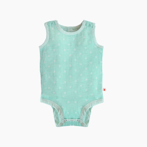 Sleeveless easy to wear mint color GOTS Certified organic cotton baby bodysuit designed for eczema