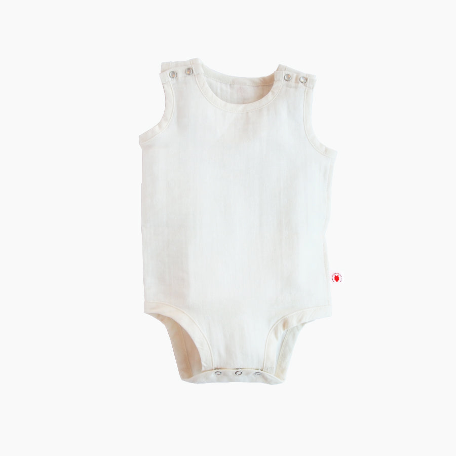 Sleeveless easy to wear dye free GOTS Certified organic cotton baby bodysuit designed for eczema