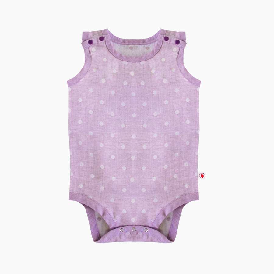 Sleeveless easy to wear Purple GOTS Certified organic cotton baby bodysuit designed for eczema