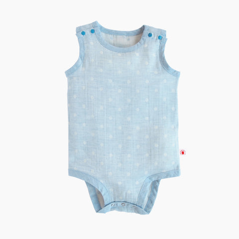 Sleeveless easy to wear blue color GOTS Certified organic cotton baby bodysuit designed for eczema