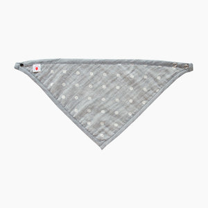 GOTS Certified organic cotton polka dot bandana bib with adjustable snaps in charcoal gray good for baby eczema in large size