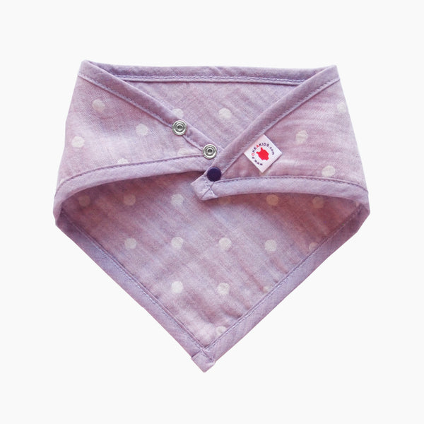 GOTS Certified organic cotton polka dot bandana bib with adjustable snaps in purple good for baby eczema in large size