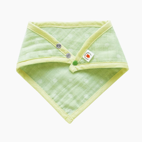 GOTS Certified organic cotton polka dot bandana bib with adjustable snaps in lime color good for baby eczema in large size