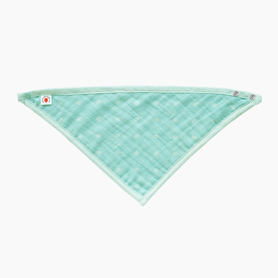 GOTS Certified organic cotton polka dot bandana bib with adjustable snaps in mint color good for baby eczema in large size