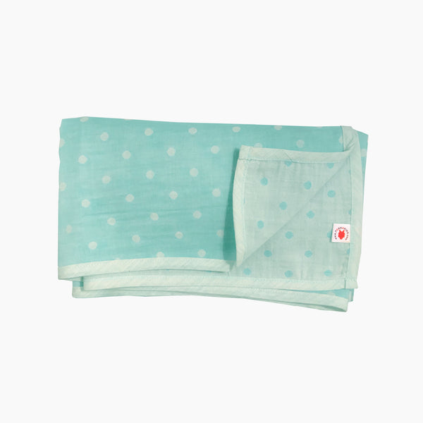 Folded mint polka dot GOTS certified organic cotton blanket for use as a stroller cover, or nursing cover