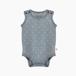 Extra large GOTS Certified organic cotton polka dot sleeveless bodysuit in gray color good for baby eczema