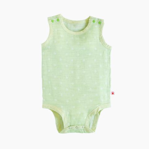 Sleeveless easy to wear lime GOTS Certified organic cotton baby bodysuit designed for eczema