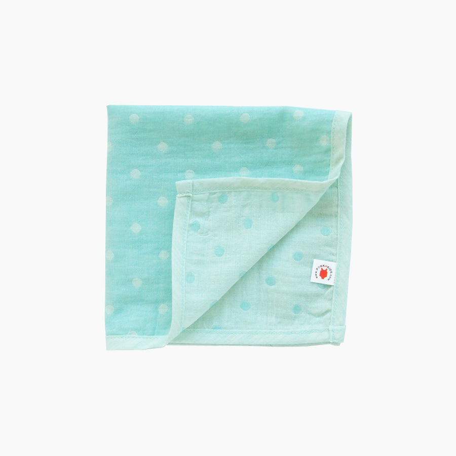 Pokka Kids mint GOTS certified organic cotton hanky for use as a wash cloth, burp cloth, bib, scarf or security blanket