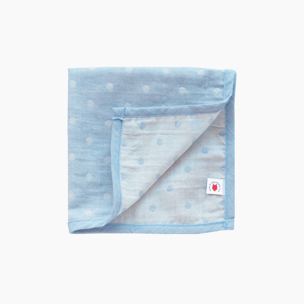 Pokka Kids blue GOTS certified organic cotton hanky for use as a wash cloth, burp cloth, bib, scarf or security blanket
