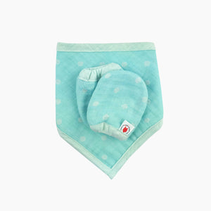 Mint 100 % GOTS certified organic cotton bandana bib and mittens baby gift set made in USA