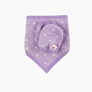 Purple 100 % GOTS certified organic cotton bandana bib and mittens baby gift set made in USA