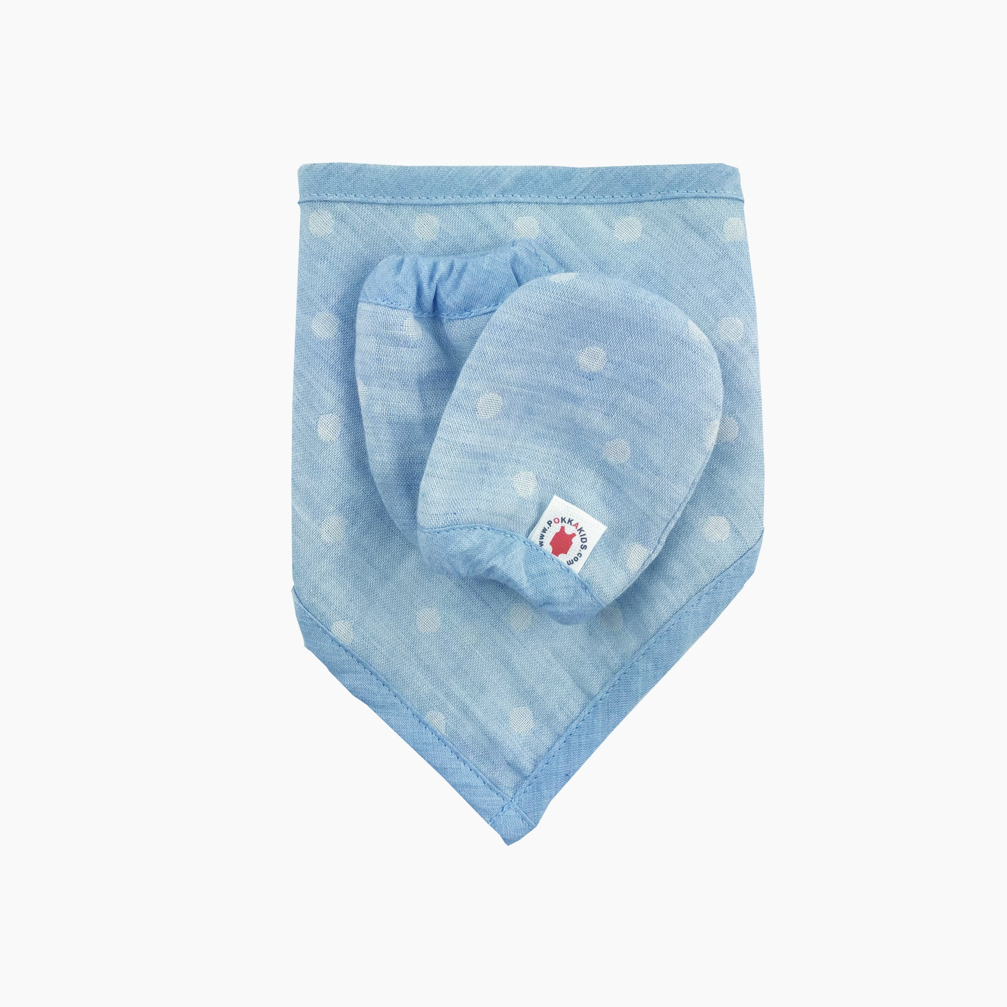 Blue 100 % GOTS certified organic cotton bandana bib and mittens baby gift set made in USA