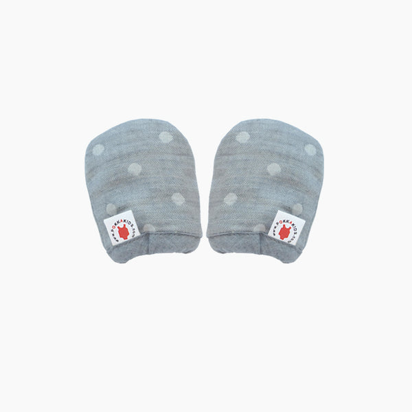 Reversible GOTS Certified organic cotton baby mittens in gray color made for eczema in USA