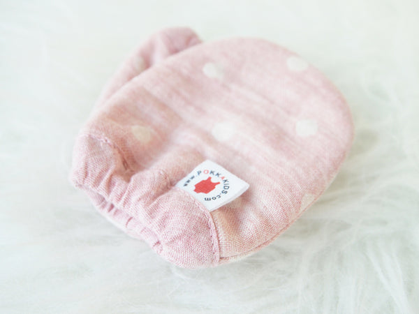 Reversible GOTS Certified organic cotton baby mittens in pink color made for eczema in USA