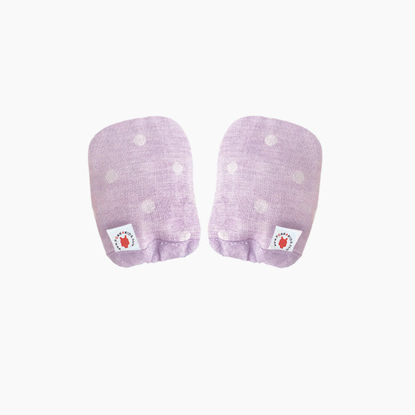 Reversible GOTS Certified organic cotton baby mittens in purple color made for eczema in USA
