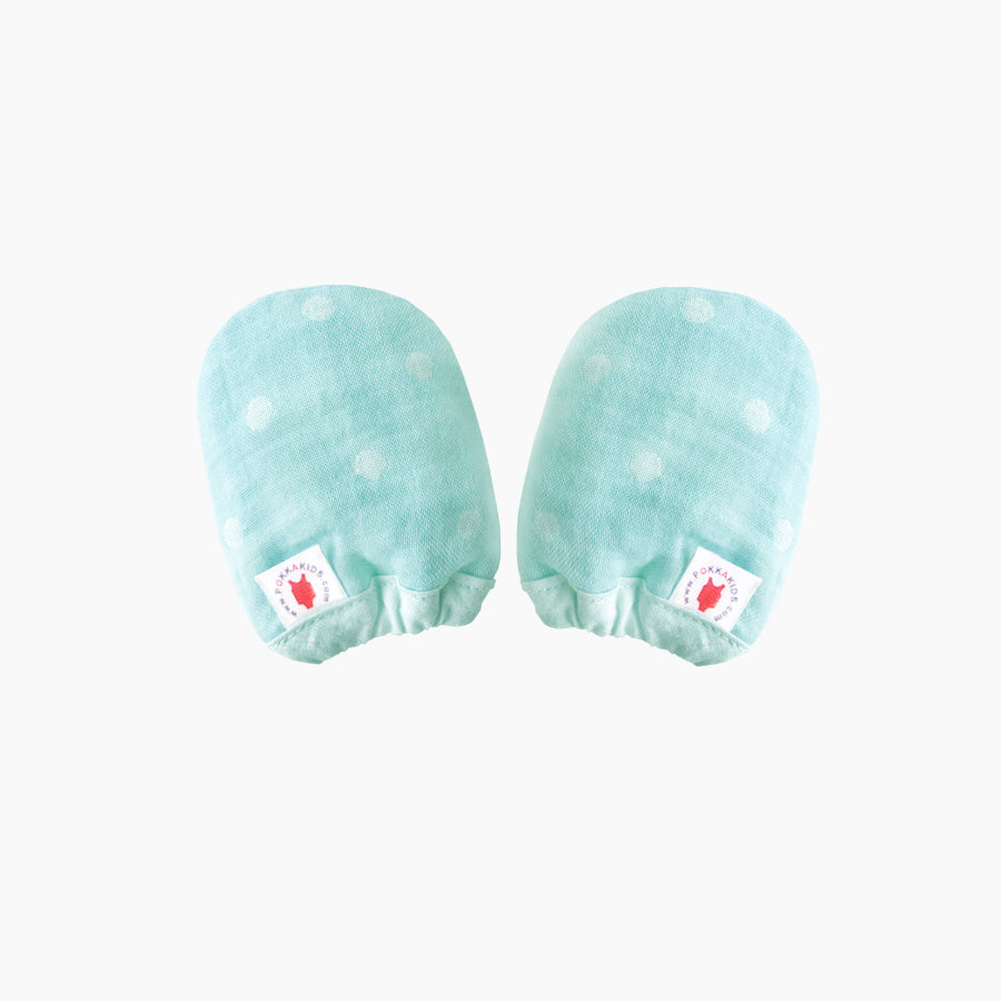 Reversible GOTS Certified organic cotton baby mittens in mint color made for eczema in USA