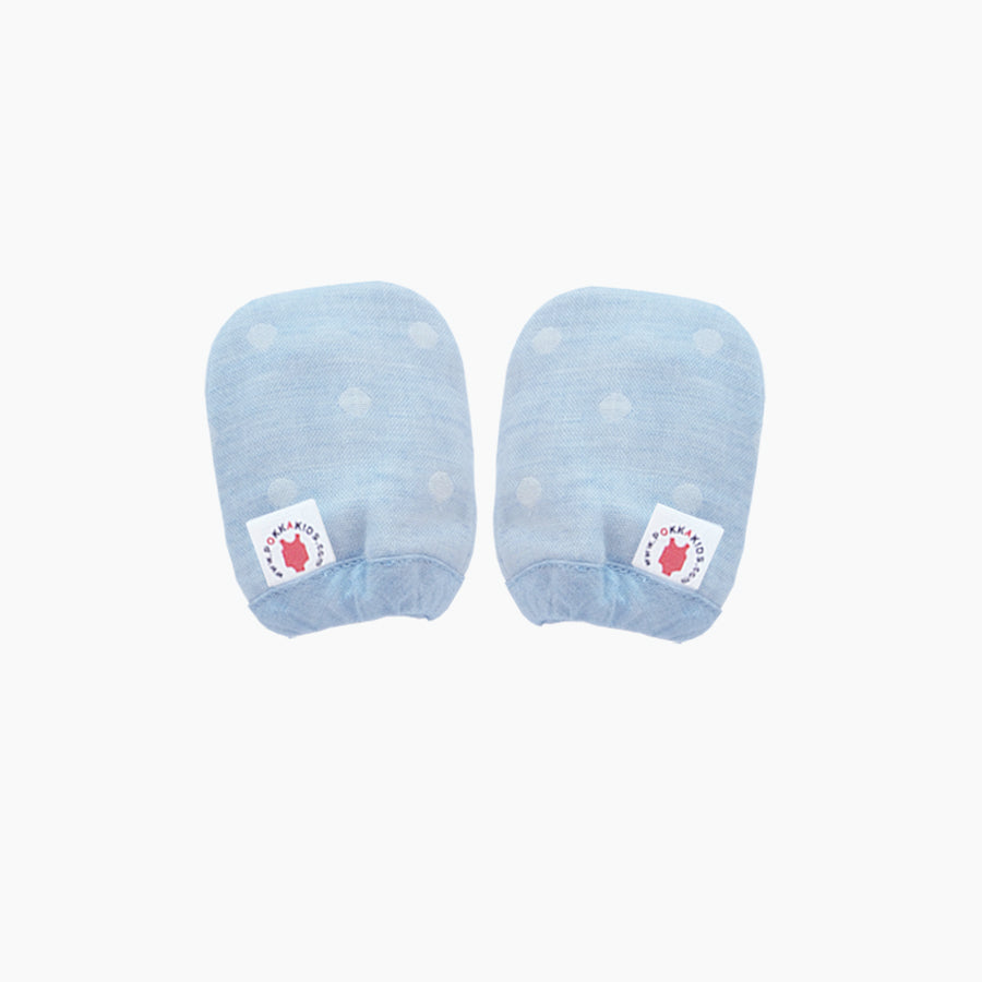 Reversible GOTS Certified organic cotton baby mittens in blue made for eczema in USA