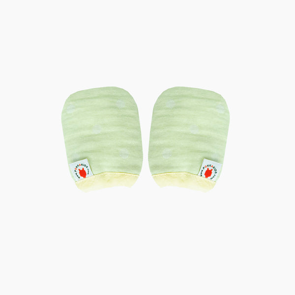 Reversible GOTS Certified organic cotton baby mittens in lime color made for eczema in USA